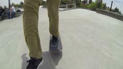 POV Man Skateboarding in Skatepark - stock footage
