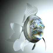 glassy fish with scales and fins - stock illustration