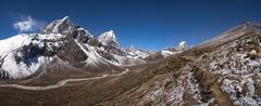 Himalayas panorama with cholatse and taboche peaks Stock Photos