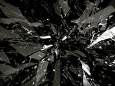 Stock Illustration of splitted or broken glass pieces on black