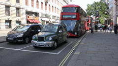 New modern Red Busses in London - stock footage