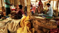 A busy village vegetable market. Stock Footage