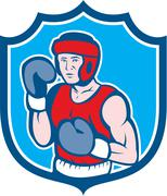 Amateur boxer stance shield cartoon Stock Illustration