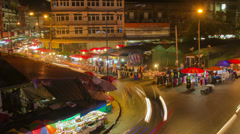 HD Time Lapse night market zoom out Stock Footage