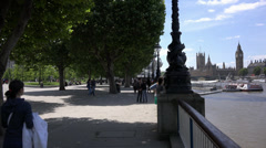 London south bank and Big Ben and House of Parliament - stock footage