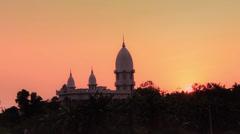 Sunset on a Hindu Vaisnava Krishna temple. Stock Footage