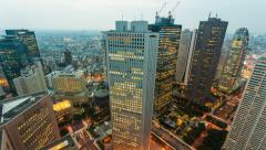1080 - CITY SKYLINE AT DUSK - SHINJUKU, TOKYO, JAPAN Stock Footage