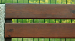 Brown wooden planks of bench with blank copy space. Stock Footage