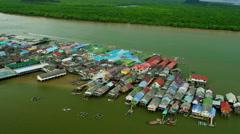Aerial view Koh Panyi village, Phang nga Bay, Thailand Stock Footage