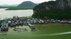 Aerial view Ko Panyi a Muslim fishing village, Phang nga bay, Thailand Stock Footage