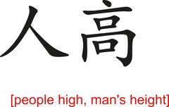Chinese Sign for people high, man's height Stock Illustration