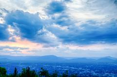 Roanoke city as seen from mill mountain star at dusk in virginia, usa. Stock Photos