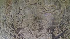 Angkor Wat wall bas reliefs Stock Footage