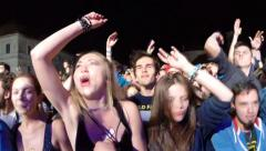 Crowd of partying people at a live concert Stock Footage