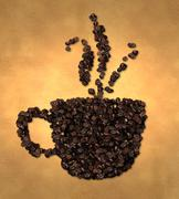 Cup Vapor Icon Coffee Bean on Old Paper - stock illustration