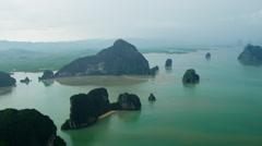 Aerial view Phang Nga Bay Marine National Park, Thailand Stock Footage
