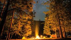Camping Timelapse Under Night Sky Stars and Campfire Stock Footage