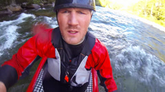 Unique bobble-head Point of View of Whitewater kayaker on a class IV river Stock Footage