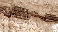 Visiting a hanging temple monastery at datong china Stock Footage