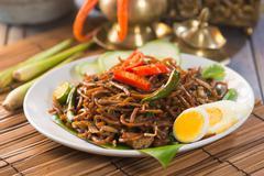 mie goreng, mi goreng, indonesian fried noodles - stock photo