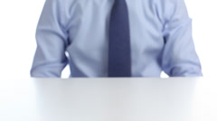 Unrecognizable businessman sitting at the table and waiting Stock Footage