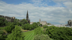 Princes street gardens, scott monument, edinburgh, scotland Stock Footage