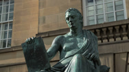 Stock Video Footage of david hume statue, royal mile, high street, edinburgh, scotland