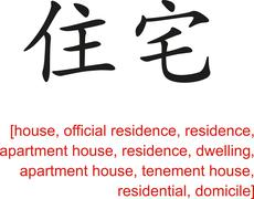 Chinese Sign for house, residence, apartment house - stock illustration