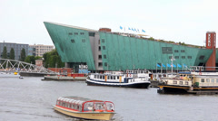 View of the Science Center Nemo building, Amsterdam Stock Footage