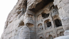 Sculptures in the yungang grottoes in datong china Stock Footage
