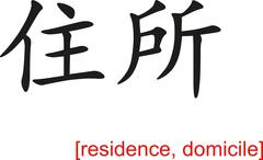Chinese Sign for residence, domicile - stock illustration