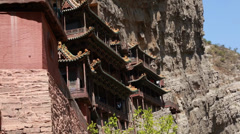 The hanging temple monastery at datong china dolly Stock Footage