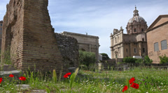 Rome, Italy, ruins of Roman Forum and other antiquities on Palatine hill. Stock Footage