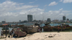 View over the harbour in dar es salaam, tanzania Stock Footage