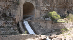 Water from dam by the hanging temple in datong china Stock Footage