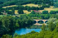 Stock Photo of medieval bridge over the dordogne river