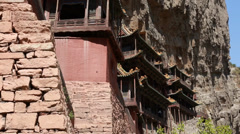 Hanging temple monastery at datong china dolly Stock Footage