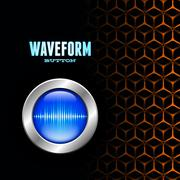 silver button with blue sound wave sign on unusual hex grid - stock illustration