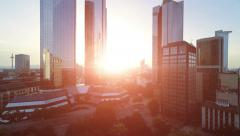 Establishing shot of modern skyscraper buildings at sunset light Stock Footage