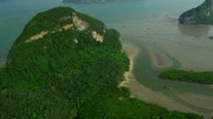 Aerial view Phang Nga Bay sheer limestone karsts, Thailand - stock footage