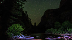 Night Stars Timelapse Over Mountain Stream Valley Stock Footage