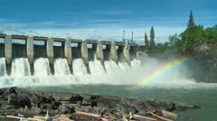 Hydro Electric Power Dam with rainbow Stock Footage