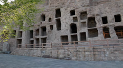 The  caves and yungang grottoes at datong china Stock Footage