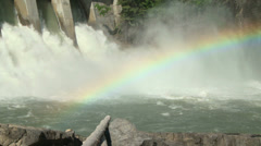 Hydro Electric Power Dam with rainbow - stock footage