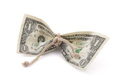 American dollar tied in twine with clipping path Stock Photos