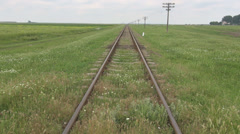 Abandoned railway view covered green grass chamomile, unused old rail transport Stock Footage