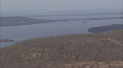 Large Lake Countryside Bridge Stock Footage