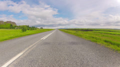 bright sunny day country drive in Icelandic summer, POV - stock footage