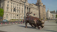 Stock Video Footage of Bund Financial Bull hyperlapse 4K