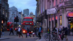 Great evening shot of Shaftesbury Avenue at Picadilly Circus London Stock Footage